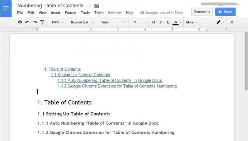 Auto Numbering Table Of Contents List Sub Titles On